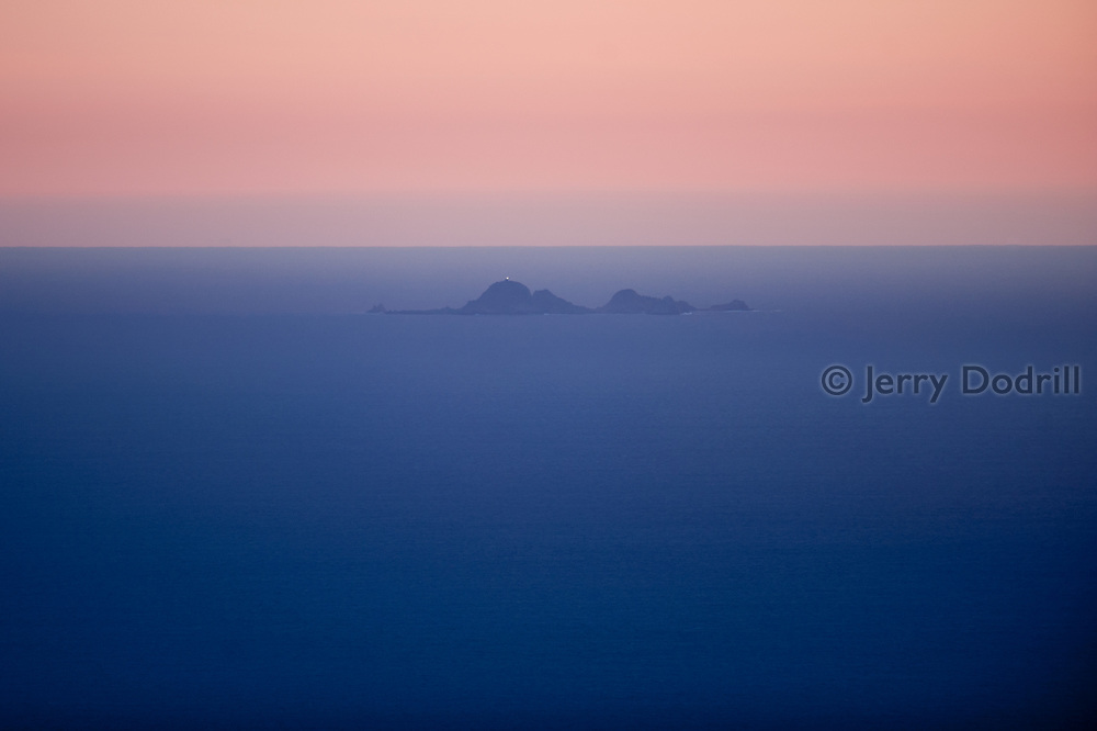 Farallon Islands seen twenty miles off shore, from Bolinas Ridge on Mt. Tamalpais, Marin County, California