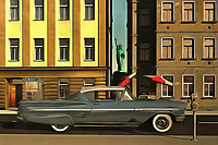 This acryl on canvas painting brings some icons together. The Chevy Impala in this piece is definitely the most dynamic element. To be sure, this is a car that packs some pretty amazing memories to the forefront for some. However, the car is not the only aspect to this piece that is important to consider. The car stands in the middle of one of the most legendary cities in the world. The Big Apple is a city of stunning contrasts and possibilities. This Impala, with the Statue of Liberty behind it, is just one possibility. Available as wall art, t-shirts, or as interior products.