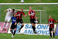 Nejc Potokar of Triglav vs Vladimir Ostojic, Nace Kosmac of Primorje at football match between NK Primorje Ajdovscina and NK Triglav Gorenjska of Second Slovenian football league, on May 16, 2010 in Vipava, Slovenia. Primorje placed first in 2.SNL and qualified for  PrvaLiga in season 2010/2011. (Photo by Urban Urbanc / Sportida)