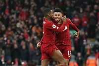 Football - 2019 / 2020 Premier League - Liverpool vs. Southampton<br /> <br /> Liverpool's Alex Oxlade-Chamberlain celebrates scoring his sides first goal <br /> <br /> Colorsport / Terry Donnelly