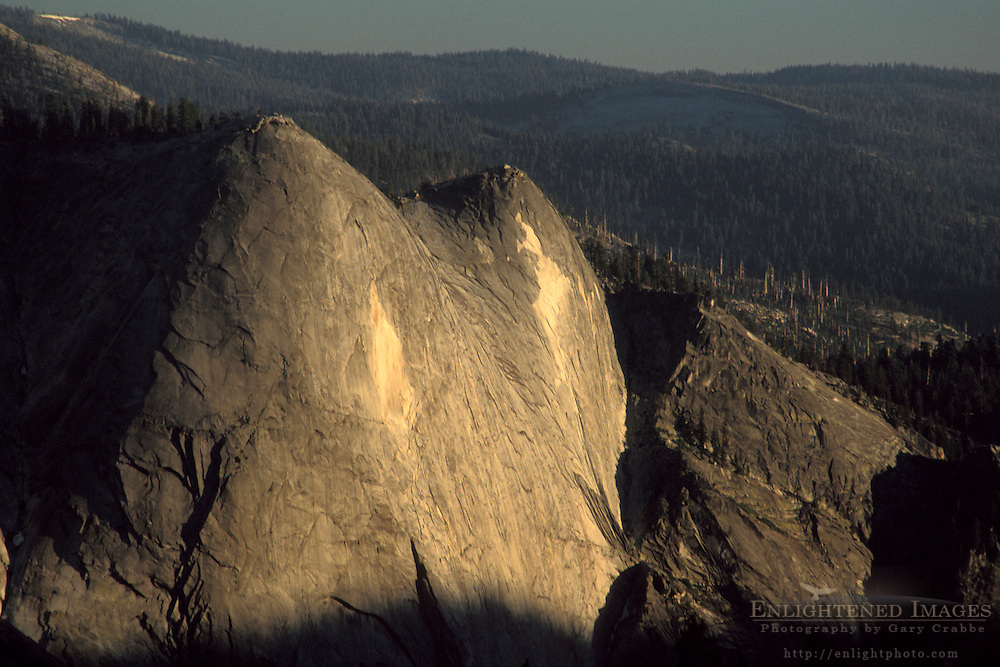 Sunset light on Quarter Domes above Tenaya Canyon, from Olmsted Point, Yosemite National Park, California