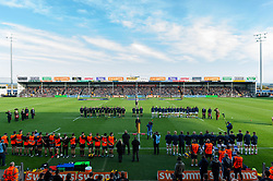 The teams line up for the Remembrance Day ceremony prior to the match - Mandatory byline: Patrick Khachfe/JMP - 07966 386802 - 10/11/2019 - RUGBY UNION - Sandy Park - Exeter, England - Exeter Chiefs v Bristol Bears - Gallagher Premiership