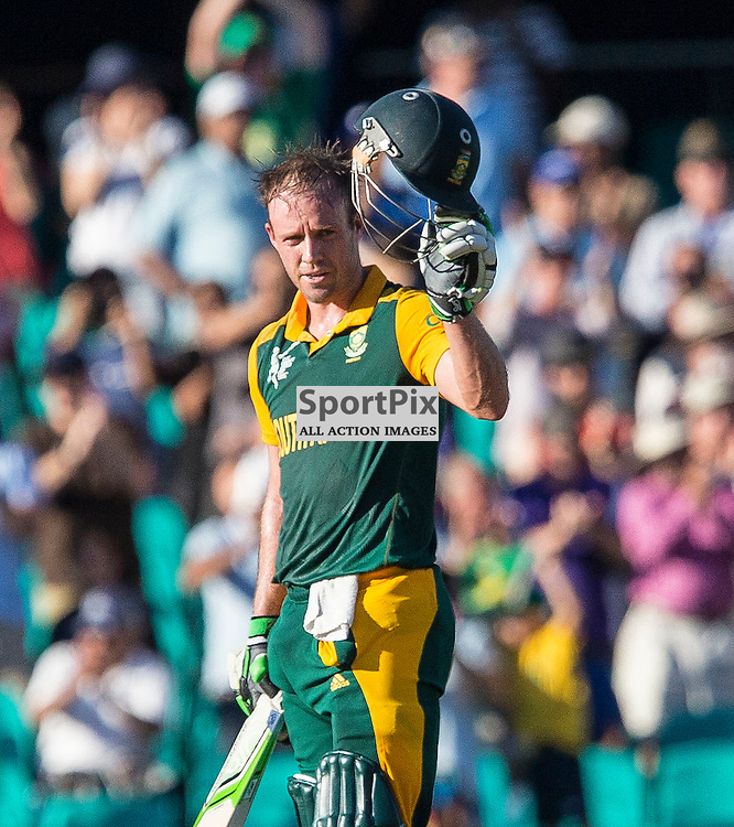 ICC Cricket World Cup 2015 Tournament Match, South Africa v West Indies, Sydney Cricket Ground; 27th February 2015<br /> South Africa&rsquo;s AB De Villiers acknowledges the crowd after scoring his 100