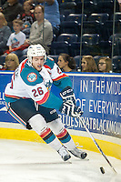 KELOWNA, CANADA - SEPTEMBER 5: Cole Linaker #26 of Kelowna Rockets skates with the puck against the Prince George Cougars on September 5, 2015 during the first pre-season game at Prospera Place in Kelowna, British Columbia, Canada.  (Photo by Marissa Baecker/Shoot the Breeze)  *** Local Caption *** Cole Linaker;
