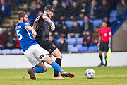 Macclesfield Town defender Fiacre Kelleher challenge the opponent during the EFL Sky Bet League 2 match between Macclesfield Town and Mansfield Town at Moss Rose, Macclesfield, United Kingdom on 16 November 2019.