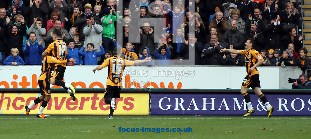Picture by Richard Gould/Focus Images Ltd. 07710 761829.26/11/11.Matty Fryatt of Hull City celebrates his first goal against Burnley during the Npower Championship match at KC Stadium, Hull