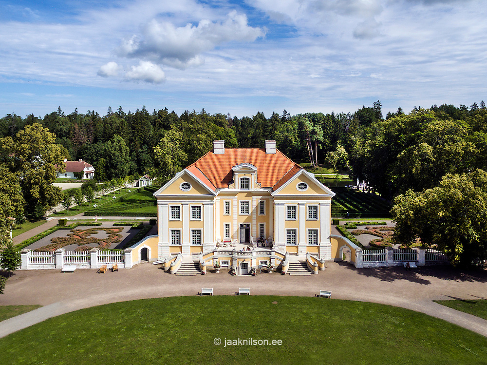 Palmse manor house in Estonia. Aerial view, old castle.