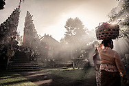 Balinese gather for a ceremony at a Hindu temple in the vicinity of Ubud, Bali, Indonesia, Southeast Asia
