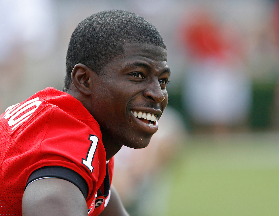 Georgia WR Mohamed Massaquoi looks on while being out of action during the game between the University of Georgia Bulldogs and University of Alabama-Birmingham (UAB) Blazers at Sanford Stadium in Athens, GA on September 16, 2006.  The Bulldogs beat the Blazers 34-0.