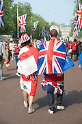 FLAGS, The Royal Wedding of Prince William and  Catherine Middleton. Scenes around Buckingham Palace and the Mall.   London. 29 April 2011. , -DO NOT ARCHIVE-© Copyright Photograph by Dafydd Jones. 248 Clapham Rd. London SW9 0PZ. Tel 0207 820 0771. www.dafjones.com.