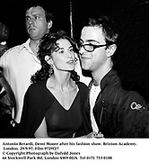 Antonio Berardi, Demi Moore after his fashion show. Brixton Academy. London. 29/9/97. Film 9729f27<br />