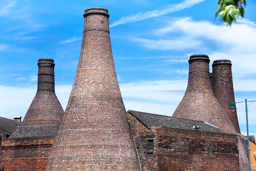 Brick Bottle Kilns at The mid 19th century Gladstone Pottery, in Longton, Stoke on Trent, Staffordshire, UK.