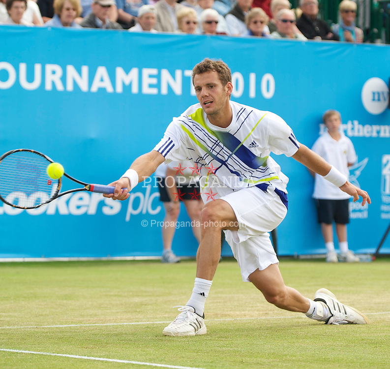 LIVERPOOL, ENGLAND - Saturday, June 19, 2010: Paul-Henri Mathieu (FRA) during the Men's Singles Final on day four of the Liverpool International Tennis Tournament at Calderstones Park. (Pic by David Rawcliffe/Propaganda)