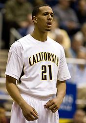 February 27, 2010; Berkeley, CA, USA; California Golden Bears forward Omondi Amoke (21) during the first half against the Arizona State Sun Devils at Haas Pavilion. California defeated Arizona State 62-46.