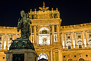 Vienna, the hofburg castle by night