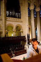 """25 November, 2008. New York, NY. Joseph Nielse, 36, tunes the """"new"""" organ at the Cathedral of St. John the Divine. The organ at the Cathedral of St. John the Divine, heavily damaged in a fire in 2001, has been rebuilt. The organ has been tuned for the last couple of weeks.  ©2008 Gianni Cipriano for The New York Times<br /> cell. +1 646 465 2168 (USA)<br /> cell. +1 328 567 7923 (Italy)<br /> gianni@giannicipriano.com<br /> www.giannicipriano.com"""