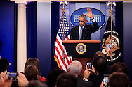 President  Barack Obama bids farewell at  his Last Press Conference in the White House Press Briefing Room on January 18, 2017,<br /> Photo by Dennis Brack