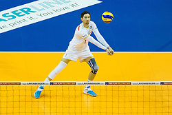 09.01.2016, Max Schmeling Halle, Berlin, GER, CEV Olympia Qualifikation, Frankreich vs Polen, im Bild Reception / Annahme Kevin Tillie (#7, FRA) // during 2016 CEV Volleyball European Olympic Qualification Match between France and Poland at the Max Schmeling Halle in Berlin, Germany on 2016/01/09. EXPA Pictures © 2016, PhotoCredit: EXPA/ Eibner-Pressefoto/ Wuechner<br /> <br /> *****ATTENTION - OUT of GER*****