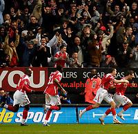 Photo: Alan Crowhurst.<br />Charlton Athletic v Aston Villa. The Barclays Premiership. 30/12/2006. Charlton's Bryan Hughes (R) celebrates his late winner with team mates.