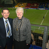 St Johnstone v Aberdeen.....30.01.13      SPL<br /> Chairman Steve Brown with Provost Liz Grant<br /> Picture by Graeme Hart.<br /> Copyright Perthshire Picture Agency<br /> Tel: 01738 623350  Mobile: 07990 594431