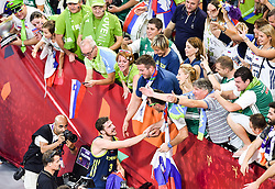 Goran Dragic of Slovenia with supporters of Slovenia celebrate after winning during basketball match between National Teams of Slovenia and Spain at Day 15 in Semifinal of the FIBA EuroBasket 2017 at Sinan Erdem Dome in Istanbul, Turkey on September 14, 2017. Photo by Vid Ponikvar / Sportida