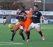 Dundee's trialist striker and Dundee&rsquo;s Randy Wolters sandwich Dundee United's Gavin Ritchie - Dundee under 20s v Dundee United in the SPFL Development League at Links Park, Montrose<br /> <br />  - &copy; David Young - www.davidyoungphoto.co.uk - email: davidyoungphoto@gmail.com