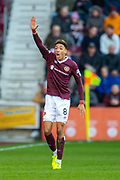 Sean Clare (#8) of Heart of Midlothian FC appeals to the referee during the Ladbrokes Scottish Premiership match between Heart of Midlothian FC and Aberdeen FC at Tynecastle Stadium, Edinburgh, Scotland on 29 December 2019.
