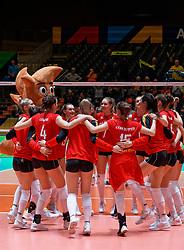 09–01-2020 NED: Olympic qualification tournament women, Apeldoorn<br /> Belgium celebrate after 3-1 win over Croatia Britt Herbots #3 of Belgium, Celine Van Gestel #7 of Belgium