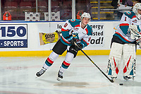 KELOWNA, CANADA - FEBRUARY 16: Mark Liwiski #9 of the Kelowna Rockets warms up against the Vancouver Giants on February 16, 2019 at Prospera Place in Kelowna, British Columbia, Canada.  (Photo by Marissa Baecker/Shoot the Breeze)