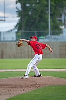 KELOWNA, BC - JULY 17: Zach Jacobs #27 of the Kelowna Falcons throws a pitch against the the Wenatchee Applesox at Elks Stadium on July 17, 2019 in Kelowna, Canada. (Photo by Marissa Baecker/Shoot the Breeze)