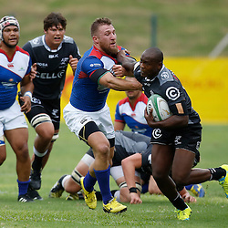 DURBAN, SOUTH AFRICA, 23, April 2016 - Nkululeko Marwana of the Cell C Sharks XV hands off Johann Tromp of the Windhoek Draught Welwitschias during the  Currie Cup Qualifiers match between The Cell C Sharks XV vs Windhoek Draught Welwitschias,King Zwelithini Stadium, Umlazi, Durban, South Africa. Kevin Sawyer (Steve Haag Sports) images for social media must have consent from Steve Haag