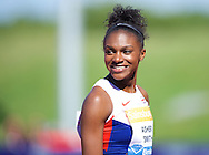 Dina Asher-Smith GBR after competing in the 200m during the IAAF  Diamond League Sainsbury's Birmingham Grand Prix at Alexander Stadium, Birmingham<br /> Picture by Alan Stanford/Focus Images Ltd +44 7915 056117<br /> 07/06/2015