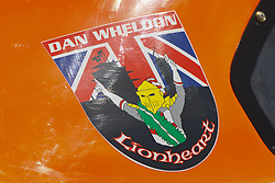 STOCKTON, CA - MAY 5: Detailed view of a decal placed in memory of Dan Wheldon (not pictured) on the car of Austin Dyne, driver of the #9 William Rast/Sunrise Ford/Lucas Ford (not pictured) during the NASCAR K&N Pro Series West Pick N Pull 150 at the New Stockton 99 Speedway on May 5, 2012 in Stockton, California. (Photo by Jason O. Watson/Getty Images for NASCAR) *** Local Caption ***