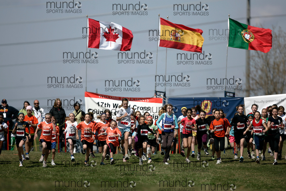 (Kingston, Canada---11 April 2010) \\ runs in the Elementary Girls race at the 17th World University Cross Country Championships (FISU) held on the Fort Henry Hill course in Kingston, Ontario, Canada. .Geoff Robins/ Mundo Sport Images..This photograph is Copyright Geoff Robins / Mundo Sport Images, 2010. For information, go to www.mundosportimages.com or contact info@mundosportimages.com.