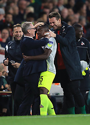 14 September 2017 -  UEFA Europa League (Group H) - Arsenal v FC Koln - Jhon Cordoba of FC Koln celebrates with FC Koln Head coach Peter Stoger after scoring the opening goal  - Photo: Marc Atkins/Offside