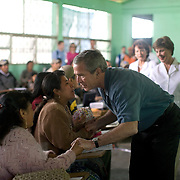 Pres. George W. Bush and Guatemalan Pres. Oscar Berger visit a Medical Readiness and Training Exercise site Monday, March 12, 2007.<br /> <br /> Photo by Khue Bui