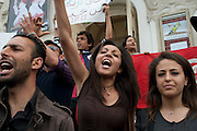 Protest for freedom of speech and against Salafi by revolutionary students in Tunis.<br />