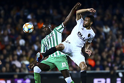 February 28, 2019 - Valencia, Spain - William Silva de Carvalho of Real Betis Balompi (L) and Francis Coquelin of Valencia CF During Spanish King La Copa match between  Valencia cf vs Real Betis Balompie Second leg  at Mestalla Stadium on February 28, 2019. (Photo by Jose Miguel Fernandez/NurPhoto) (Credit Image: © Jose Miguel Fernandez/NurPhoto via ZUMA Press)