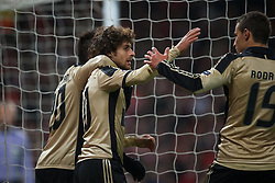 22.11.2011, Old Trafford, Manchester, ENG, UEFA CL, Gruppe C, Manchester United (ENG) vs Benfica Lissabon (POR), im Bild SL Benfica's Pablo Aimar celebrates scoring the second goal against Manchester United during the UEFA Champions League Group C match at Old Trafford, London, United Kingdom on 22/11/2011. EXPA Pictures © 2011, PhotoCredit: EXPA/ Sportida/ David Rawcliff..***** ATTENTION - OUT OF ENG, GBR, UK *****