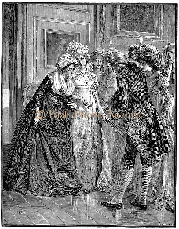 Hannah More  (1745-1833) English religious writer and playwright,  and member of the Blue Stocking circle of intelligent educated women, being introduced to Society by the Duchess of Gloucester. Wood engraving.