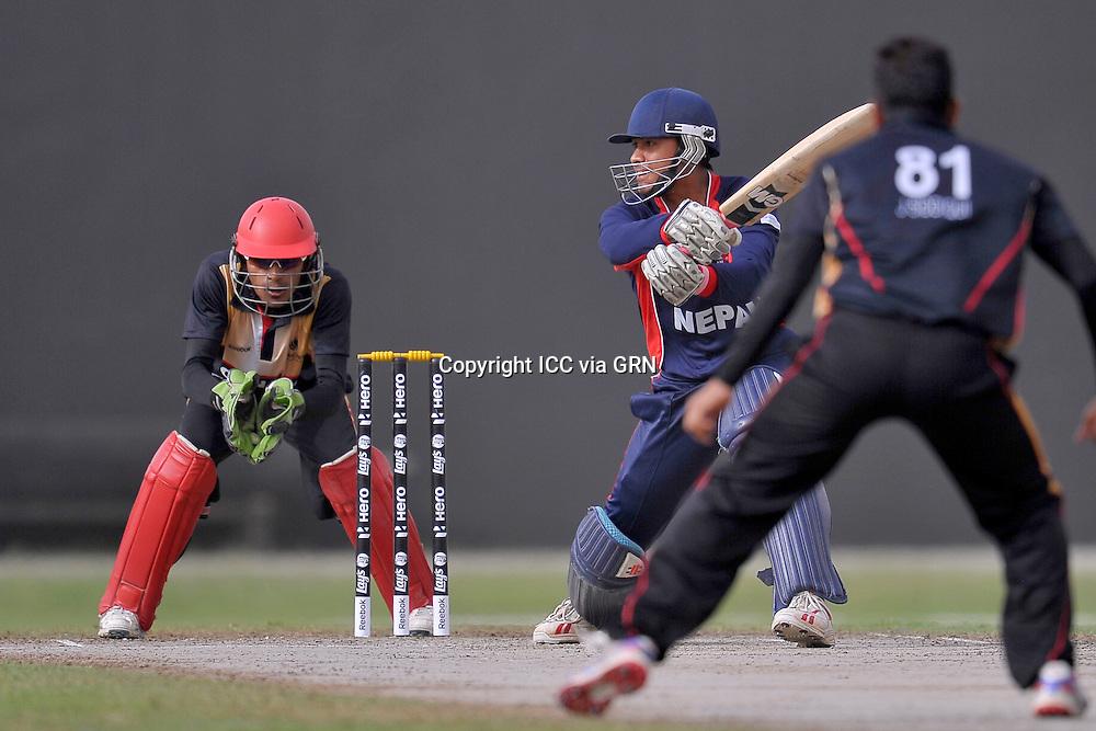 Nepal's Gyanendra Malla at the ICC World Twenty20 Qualifier, UAE 2012. Pix. ICC/ Thusith Wijedoru