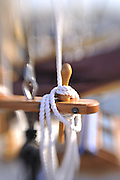 Sailboat rigging : white rope with selective focus and copy space, Rockland, Maine