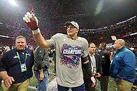 New England Patriots' Rob Gronkowski (87) celebrates after defeating the Los Angeles Rams' during the NFL Super Bowl 53 football game Sunday, Feb. 3, 2019, in Atlanta.<br /> <br /> (Tom DiPace via AP)