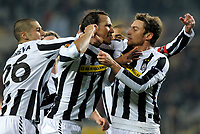 Fotball<br /> Italia<br /> Foto: Inside/Digitalsport<br /> NORWAY ONLY<br /> <br /> Juventus players celebrate Jonathan Zebina 2-0 leading goal. <br /> <br /> 11.03.2010<br /> Juventus v Fulham FC - UEFA Europa League 2009-10