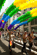 The New York City Pride balloon arches in the 2011 Pride Parade on Fifth Avenue.