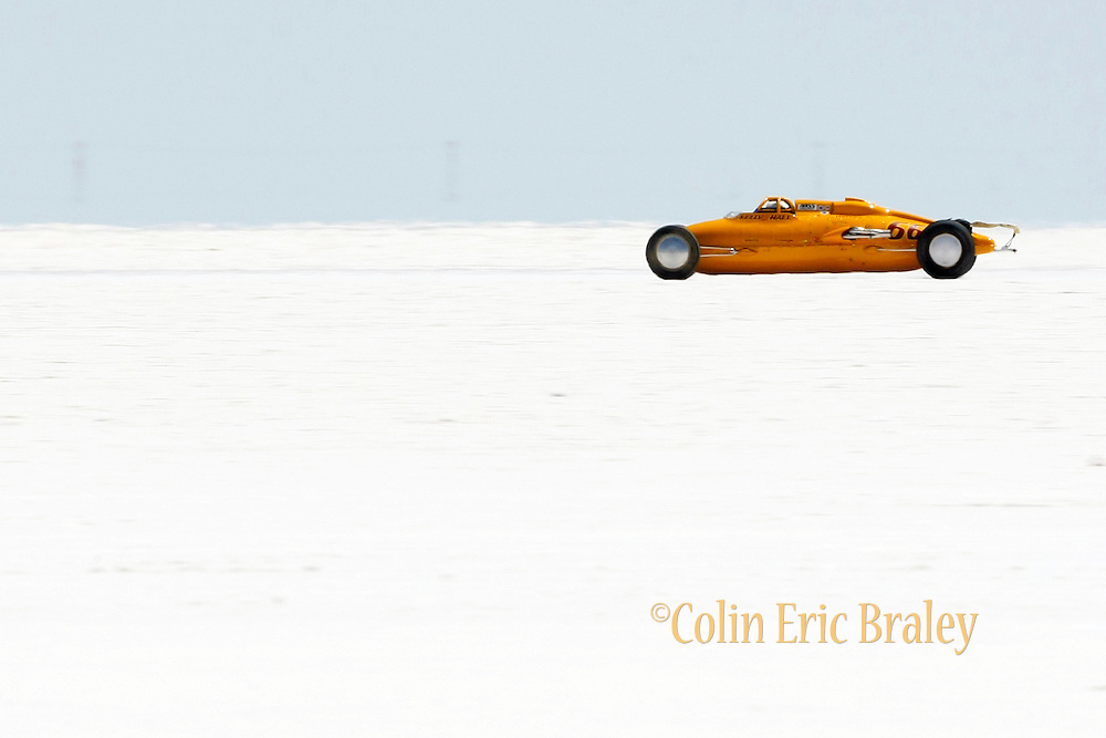 The best-cars-people-atmosphere-photos of 2009 Bonneville Speed Week- Kelly & Hall Racing's, 1997, P-38 Lakester, driven by Paul N. Kelly from Manhattan Beach, CA. makes a run on the long track at the Bonneville Speed Way. August 9, 2009.  Photo by Colin E. Braley