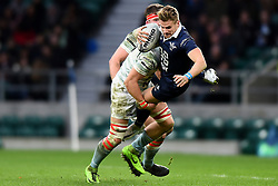 December 7, 2017 - London, England, United Kingdom - Oxford University Sam Edgerley is tackled during the Mens Varsity match between Oxford University  and Cambridge University  at Twickenham Stadium, London, England on 7 Dec 2017. (Credit Image: © Kieran Galvin/NurPhoto via ZUMA Press)