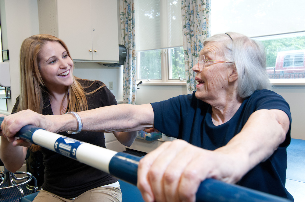A nursing home resident does physical therapy at the Sherrill House in Jamaica Plain, MA.