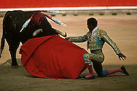 July 1988, Pamplona, Spain --- A bull weakened from spears in its back lowers into a matador's cape during a bullfight of the San Fermin Festival, Pamplona, Spain. --- Image by © Owen Franken/CORBIS