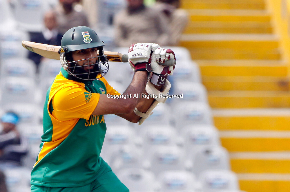 03.03.2011 Cricket World Cup from the Punjab Cricket Association Stadium, Mohali in Chandigarh. South Africa v Netherlands. Hashim Amla of South Africa plays a shot during the match of the ICC Cricket World Cup between Netherlands and South Africa